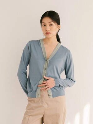 MAUVE BLUE CASHMERE BLEND BELIZE COTTON CARDIGAN