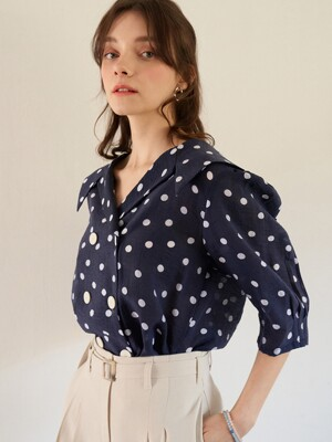 monts 1112 sailor collar dot blouse (navy)