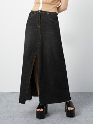 R LONG SLIT DENIM SKIRT