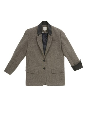 REPUBLIQUE classic single button blazer_Gray barleycorn check
