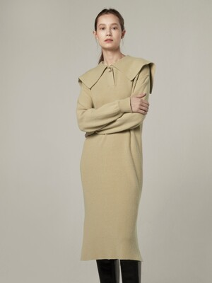 Cashmere blended sailor knit dress - Sage green