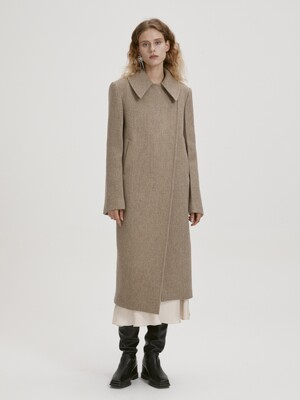 SPREAD COLLAR WOOL COAT (BEIGE)