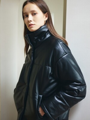 Lambskin Crop Pedding Jacket