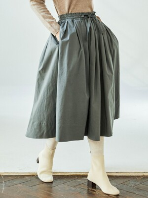 Shirring Green Skirt