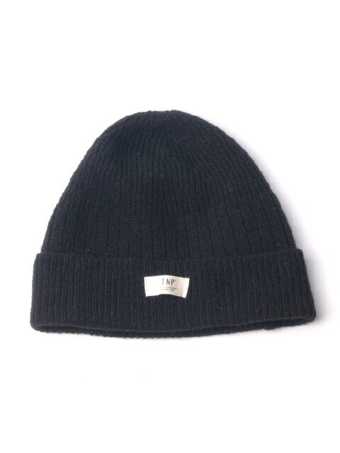 WH LABEL WOOL SHORT BEANIE - BLACK