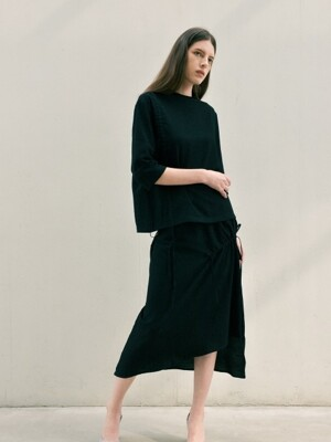 shirring long skirt - black