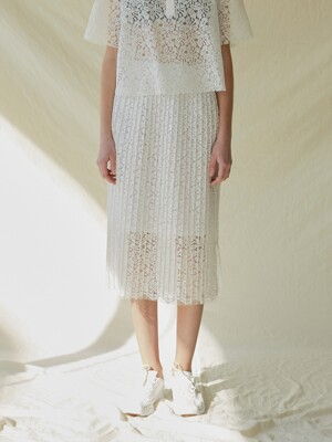 A LACE PLEATS SK_WHITE