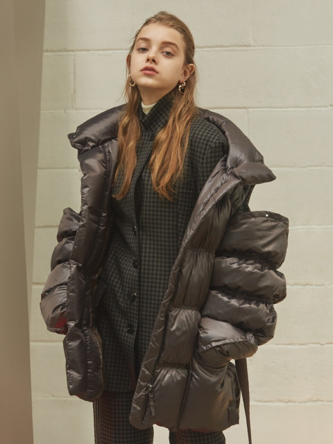 belted down jacket (sleeve detachable)
