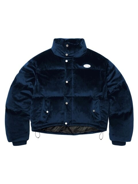 FANCY VELOUR SHORT DOWN JACKET NAVY (NF18A005H)