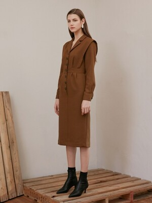 NOTCHED COLLAR OP_OLIVE BROWN