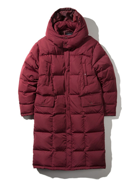 Hooded Bench Duck Down - Burgundy