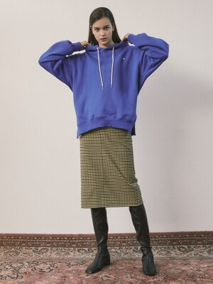 18fw square check long skirt yellow check