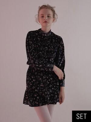 [SET] VELVET FLORAL BLOUSE & VELVET FLORAL SKIRT_BLACK