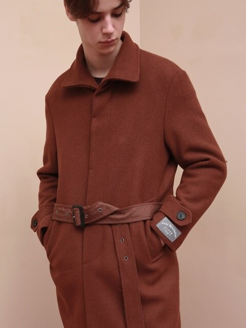 UNISEX WATSON ROBE WOOL SINGLE COAT BROWN