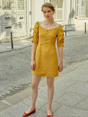 Shirring Sleeve One-piece (Mustard)_VW8AO0400