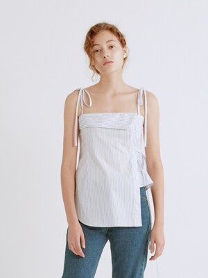 19SS SHIRT DETAILED COTTON BUSTIER TOP (WHITE STRIPE)