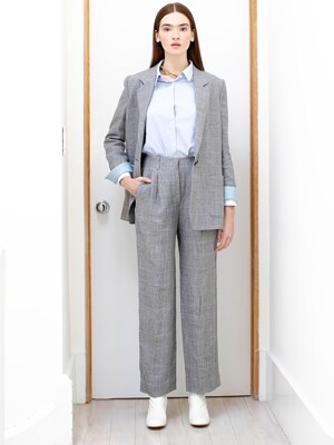 GRAMACY out pocket detail blazer_Gray window check (Gray window check & Light blue)