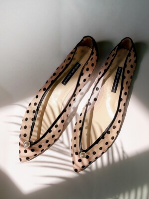 Dot mesh flat shoes