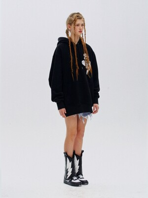 Ghost embroidery oversized hoody