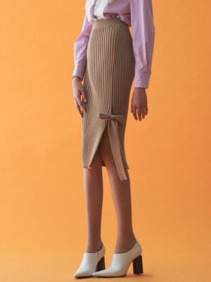 KNIT SLIT RIBBON SKIRT_CAMEL