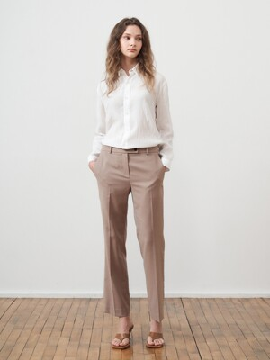 WOOL STRAIGHT TROUSERS_BEIGE