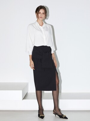 19FW RIBBON TIED UP MID-LENGTH SKIRT (Black)