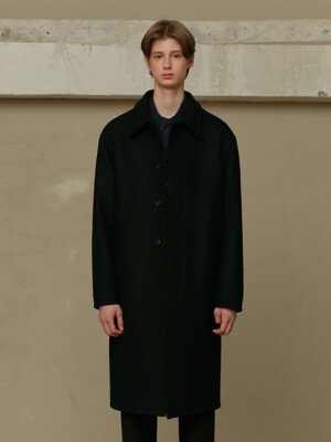 BLACK WOOL MAC COAT (TC1CTVW0803)