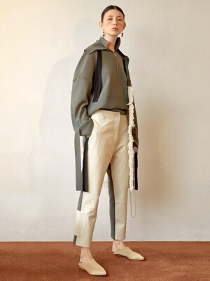Taber Leather Trouser_Ivory