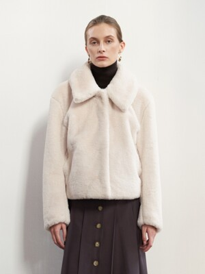 NTW DETACHABLE COLLAR ECO FUR JACKET 2COLOR