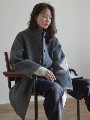 herringbone half coat _ grey