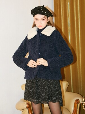 Teddy Bear Short Coat_ Navy