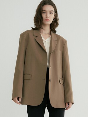 comos'333 single three-button jacket (camel)