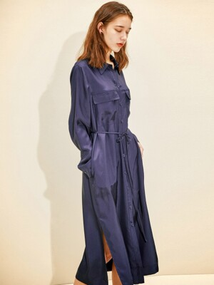 Fluid Shirt Long Dress [Navy] JSDR0B904N2