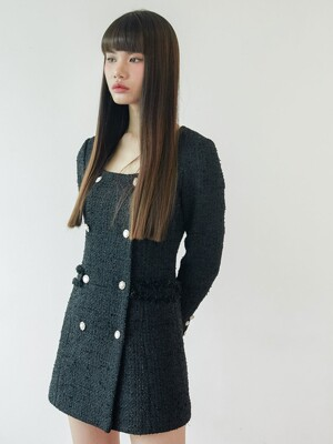 Tweed double button dress (black)