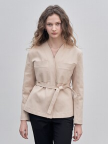 COLLARLESS BELT JACKET [BEIGE]