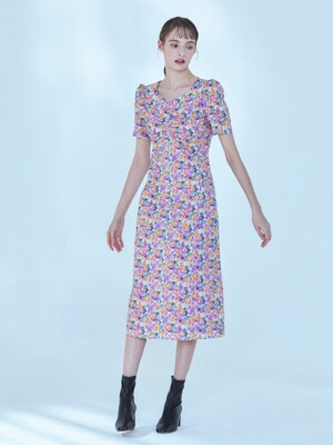 Flower Shirring Long Dress [Purple]