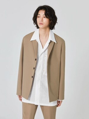 [UNISEX] ANDER Wool 3-Button Jacket_Beige (Set-up)