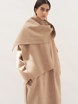 CAMEL HAIR MUFFLER COAT [HAND MADE] OATMEAL BEIGE