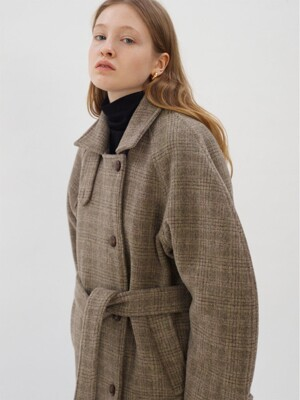 Round Long Check Coat_Grey