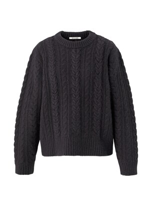 Embroidery cable angora knit pullover - Charcoal