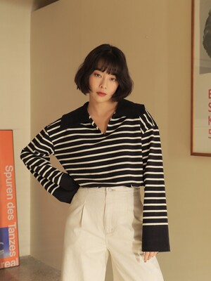 21SS STRIPE BIG COLLAR TEE/D_NAVY