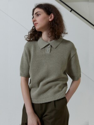 21S LAYER COLLAR HALF KNIT (OLIVE GREEN)