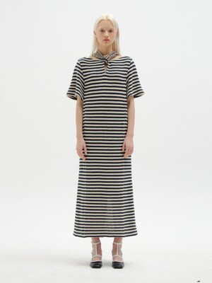 SICILIA Short Sleeve Tie-Back Dress - Navy/Beige Stripe
