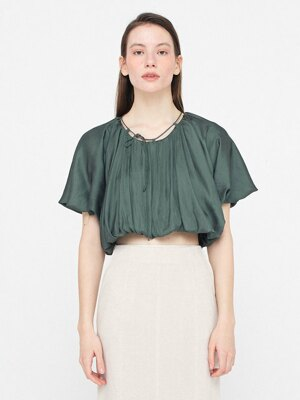 Shirring Cape Blouse_Khaki