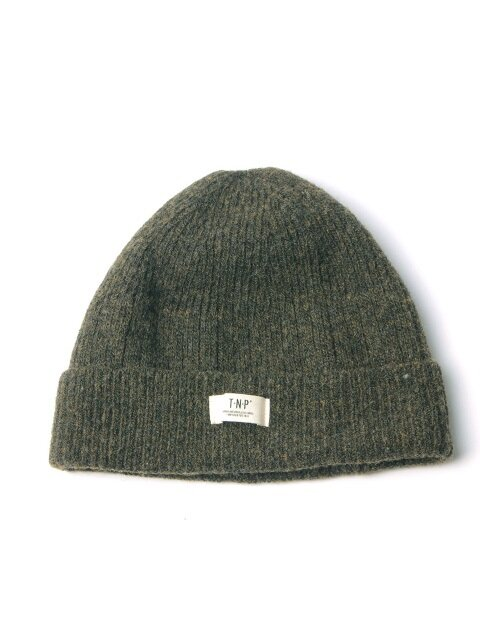 WH LABEL WOOL SHORT BEANIE - KHAKI
