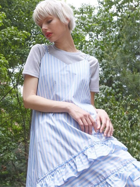 FRILL POINT FLARE DRESS_BLUE