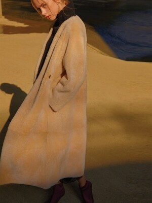 Shearling Long Coat_BEIGE, BROWN