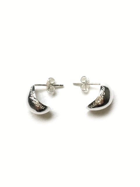 Peach slices silver earring