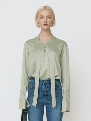 18FW SATIN NECK-TIE BLOUSE - JADE GREEN