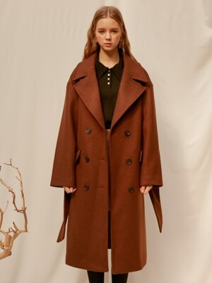monts845 blet detail double long coat (brown)
